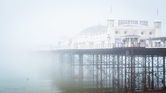 A Dip in the Fog (amipal) Tags: uk greatbritain sea england mist water fog swim sussex pier brighton europe unitedkingdom gb swimmers englishchannel palacepier