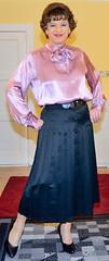 Birgit021975 (Birgit Bach) Tags: skirt button satin pleated faltenrock bowblouse schleifenbluse durchgeknpft