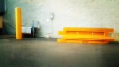 BAIT & SWITCH (akahawkeyefan) Tags: yellow wall post asphalt barricade kingsburg bollock davemeyer