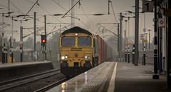 Freightliner Class 66/5 no 66556 at Newark Northgate Station on 10-05-2016 with a Felixstowe to Leeds Intermodal Service (kevaruka) Tags: england color colour wet colors rain station yellow composition train canon spring flickr colours rainyday transport may rail railway windy trains trainstation 5d locomotive newark railtour frontpage dull britishrail nottinghamshire charter 2016 class66 drearyday networkrail class87 66556 newarknorthgate canon5dmk3 5dmk3 5d3 5diii thephotographyblog canon70200f28ismk2 canoneos5dmk3 ilobsterit