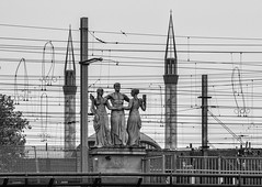 Let's Dance (nokkie1) Tags: white black holland monochrome lines statue utrecht railway mosque structure