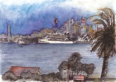 Leaving - Sydney Harbour (panda1.grafix) Tags: seascape sketch sydneyharbour sydneyoperahouse sydneyharbourbridge pencilinkwash