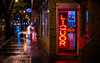 Liquor, 1AM. (Kurayba) Tags: ca city urban signs canada rain sign night reflections lights store neon cityscape edmonton pentax f14 full liquor rainy ave alberta da frame 55 avenue raining mode ff deserted 1am whyte k1 smcpda55mmf14sdm