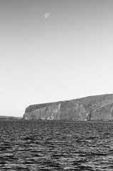 Moon Over Lanai (rschnaible) Tags: ocean travel sea bw usa white seascape black water landscape photography hawaii us pacific outdoor sightseeing rocky cliffs coastal lanai montotone