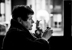 Keeps wanting more and more (BotaFriko) Tags: blackandwhite woman bar streetphotography smoking luik straatfotografie