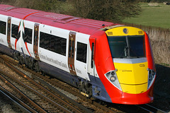 460003, Gatwick Airport, March 18th 2009 (Suburban_Jogger) Tags: railroad travel public electric train canon march spring airport westsussex transport railway vehicle passenger gatwickexpress alstom 2009 juniper gatwick 30d londonvictoria class460 460003 multipleunt