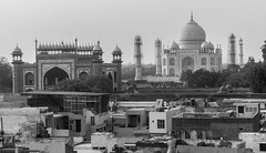 Agra, India (DitchTheMap) Tags: world travel summer sky blackandwhite bw india white black reflection building tower tourism monument water architecture temple asia flickr day place braces minaret indian islam traditional famous sightseeing culture taj mahal tajmahal agra landmark palace tourist structure symmetry mausoleum seven empire marble brace sights wonders emperor pradesh uttar 2016 uttarpradesh uttarpradesh2016