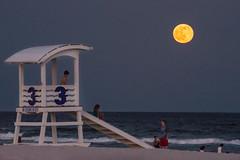 Strawberry Moon 2016 (stephaniepluscht) Tags: moon beach june night children three stand strawberry surf waves gulf alabama lifeguard full shores 2016
