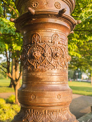 More lamp post. Day 171 (RPStrick) Tags: brown sunlight lamp stone golden post stonework hour copper marble chisel