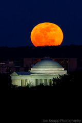 The full moon rising over the Jefferson Memorial (law_kid) Tags: pink red sky orange moon skyline night easter washingtondc spring full fullmoon meal jeffersonmemorial passover seder supermoon