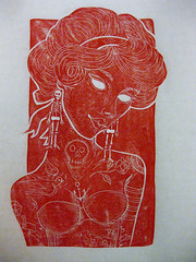 linocuttesting (Loulou Harbour) Tags: red girl illustration skeleton tattoos linocut tattooed linoprint whiteeyes loulouharbour