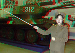 War museum in pyongyang- 3D - North Korea (Eric Lafforgue) Tags: girls woman history army 3d war uniform asia tank propaganda military femme capital anaglyph korea communism stereo baguette histoire conflict stick asie guide capitale cloth coree showing guerre militaire communisme northkorea armee onepeople koreanwar uniforme warmuseum pyongyang montrer dprk propagande coreadelnorte conflit nordkorea  ustank   coreadelnord  chardassaut dscf0905 coreedunord  guerredecoree insidenorthkorea  rpdc  museedelaguerre coreiadonorte  chardassautamericain