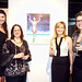 (from left) Roxanne Vargas of NBC 6 with Jeanette Aquino, grand award winner, Lisa Mattson of Jordan Winery and Lauren Wagner of Bakehouse Art Complex at Jordan's 4 on 4 Art Competition exhibition