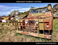 Head Shot (Stephen Kinna Photography) Tags: old abandoned neglect army photo rust jeep decay farm engine rusty rover victoria ii rusted land series wreck landrover hdr decaying mash sunbury seriesiilandrover photoengine oloneo