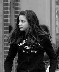 Hollister Girl (Catskills Photography) Tags: portrait people blackandwhite candid streetcandid top20blackandwhite canon55250mmislens hollistergirl