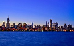 Chicago skyline at dusk, Illinois, USA (Sir Francis Canker Photography ) Tags: trip blue usa lake chicago reflection building tower water skyline night america skyscraper lago illinois amazing cityscape view dusk michigan gorgeous president landmark visit icon eua lincoln vista obama magnificent mile chanclas g8