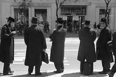 Waiting (rosy outlook photography) Tags: nyc busstop jewish fifthavenue orthodox diamonddistrict west47thstreet