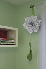 (crayonmonkey) Tags: white flower green leaves ball paper origami modular kusudama