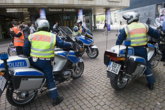 Leipzig police wait for the cyclists at the Summit