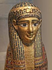 Mummy Head Cover Egyptian Roman Period 1st century BCE Cartonnage with gold leaf (mharrsch) Tags: chicago museum death gold illinois head egypt burial artinstituteofchicago mummy funerary cartonnage 1stcenturybce romanperiod mharrsch udjateye