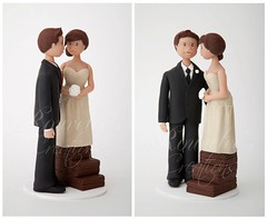 Wedding Cake Topper (Rouvelee's Creations) Tags: polymerclay caketopper weddingcaketopper rouvelee brideandgroomtopper tallgroomshortbride