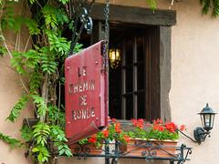 Restaurant Window - Turckheim (Bob Radlinski) Tags: travel flowers france lamp europe vine alsace turckheim