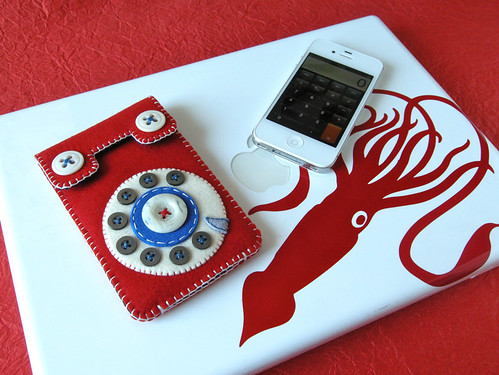 Dial Phone iPhone Case (red & blue)