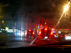 Radial Glow (lefeber) Tags: california road street city urban reflection cars window fog architecture night buildings lights la losangeles santamonica foggy headlights sidewalk rainy promenade plus smear windshield