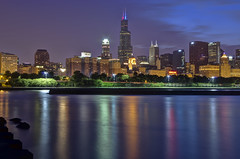 Below the Shedd (Brian Koprowski) Tags: park city b chicago skyline architecture night reflections evening downtown pentax searstower lakemichigan lakeshoredrive lsd grantpark bluehour congresshotel hdr lakefront sheddaquarium 311swacker attcorporatecenter koprowski willistower pentaxk5 briankoprowski