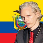 Julian Assange in front of the Ecuadorian Flag, From FlickrPhotos