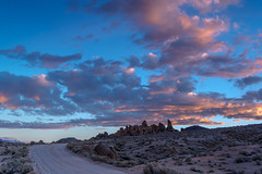 Alabama Hills - Sunrise #7045 (www.karltonhuberphotography.com) Tags: california light sky nature clouds sunrise landscape freshair outdoors morninglight exploring vivid peaceful adventure highdesert dirtroad wilderness lonepine scrub invigorating rugged rockformations easternsierra alabamahills 2016 therapeutic leadinglines sierranevadafoothills landscapephotography wideopenspaces wildplaces horizontalimage naturestreasure karltonhuber