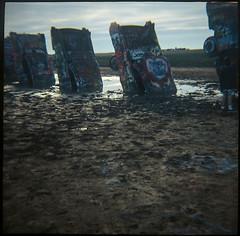 Cadillac Ranch, Texas (aubreyfantastic) Tags: ranch color cars 120 film outdoors lomo lomography texas tx cadillac amarillo dirt medium format dianaf