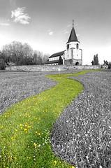 Dompeter, Alsace, France (Bruno MATHIOT) Tags: color green church way track wide wideangle vert alsace splash 1020mm glise hdr chemin 10mm photomatix 650d dsaturation ultragrandangle