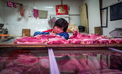 market Slump -3 (Rob-Shanghai) Tags: china street shanghai market sleep streetphotography meat butcher resting slump leicaq