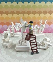 The Sculptor (Mr.Savath_Bunny) Tags: white monochrome statue angel greek justice artist lego deer greece scales michelangelo hermes sculptures sculptor plainwhite