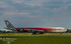 Eithad f1 at manchester (R0BERT ATKINSON) Tags: plane airport northwest aircraft boeing abu dhabi a340 manchesterairport eithad robatkinsonphotography eithadf1plane