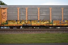 SLOCK (TheGraffitiHunters) Tags: auto street orange brown white black green art car yellow train graffiti colorful paint tracks spray rack carrier freight autorack benched slock benching