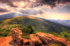 Through the Clouds (Waterfall Guy) Tags: light sunset mountain clouds nc tn tennessee north gap trail carolina rays appalachian roan carvers
