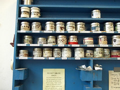 Cans of Litho Ink (plasticpumpkin) Tags: blue art ink studio print paint printmaking cans shelves lithography artstudio