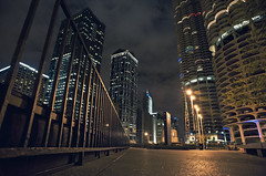 night street - chicago (Brennan Anderson) Tags: street city urban chicago night digital fence buildings dark nikon downtown parking tall 20mm fullframe fx chicagoatnight marinacity lowangle d700