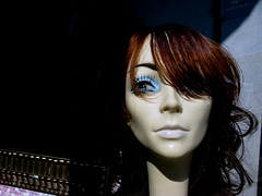 Blue eye (Ingrid!) Tags: eye mannequin window storefront blueeye ingridspangler suffern