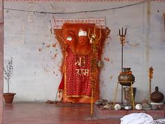 Shri Hanuman Ji present at Shri Dakshinmukhi Hanuman Ji Mandir at Charbagh in Lucknow (Vineet Wal) Tags: flowers red orange india white bells temple worship god sony religion idol hanuman hindu hinduism mandir lucknow uttarpradesh ststue auspicious mahabir anjaneya sankatmochan awadh dakshinmukhi