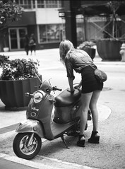 Scooter Girl: Re-Edit 2014 (Burnt Umber) Tags: girl woman chick chica ©allrightsreserved rpilla001 femme fille frau mädchen donna ragazza mujer niña scooter vespa miami florida scala 200 dr5 mamiya 645 medium format film sekor80mmf28 y3 filter black white blanco negra
