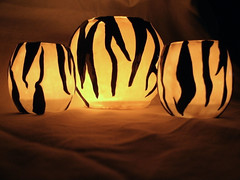 zebra candle holders lit (heather510) Tags: glass polymerclay covered