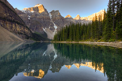 Moraine Lake (Jeremy Duguid) Tags: park trees canada mountains reflection nature sunrise canon landscape rockies dawn jeremy canadian national alberta banff 1000 duguid 50d coth5 jeremyduguid