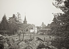 French Country // Campagne Franaise (MattiasLaunois) Tags: france church saint fog sepia landscape focus village 5 postcard sony country m42 manual 50 paysage campagne glise brouillard postale nord carte industar nex chausse industar50 rmy