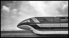 Monochrome Monorail Monday - (Edition 32) (Coasterluver) Tags: blackandwhite bw monochrome disneyland disney monorail tomorrowland monorailred markvii monorailmonday coasterluver