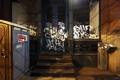 (Into Space!) Tags: street nyc newyorkcity urban newyork night graffiti al tags days graff dim bombing throw adek fill snort fillin naro btm oksy throwie