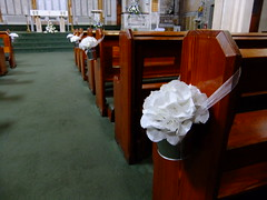 White Hydrangea Pew Ends (Vicky Spence) Tags: