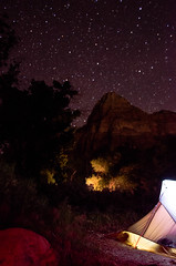 Tent Under the Stars (wrgenec) Tags: park travel camping sky night stars outdoors evening utah lowlight desert hiking national zion